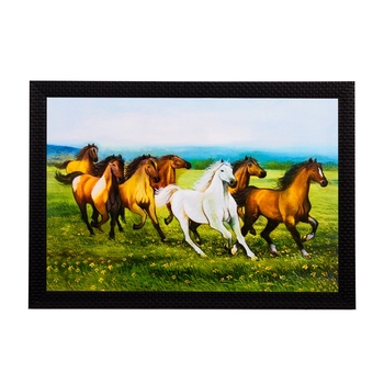 Running Brown & White Horses Satin Matt Texture UV Art Painting
