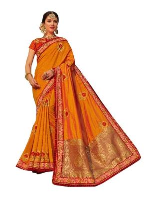 Orange Plain Banarasi Silk Saree With Blouse