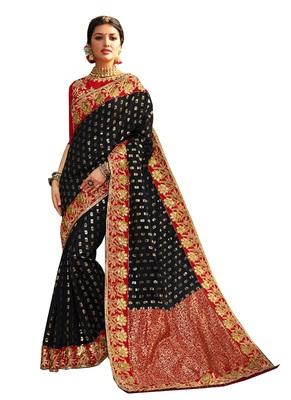 Black plain banarasi silk saree with blouse