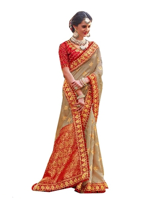 Beige plain banarasi silk saree with blouse