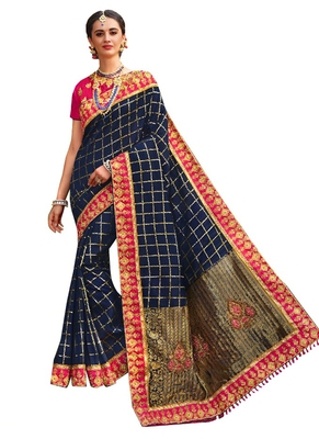 Blue plain banarasi silk saree with blouse