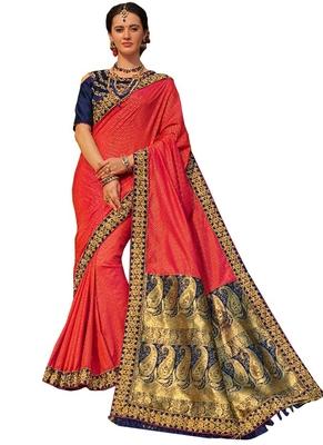 Red plain banarasi silk saree with blouse