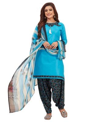 Blue printed synthetic salwar