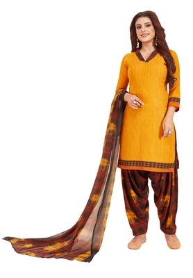Yellow printed synthetic salwar