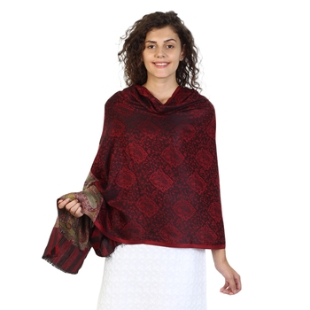 Wine & Black modal Floral Pailsey Woven Design Shawl