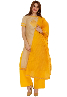 Beige embroidered cotton silk salwar