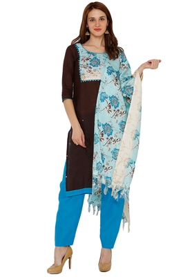 Black printed cotton silk salwar