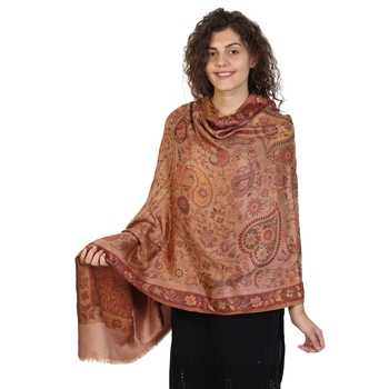 Copper & Multicolor modal Floral Paisley Woven Design Shawl