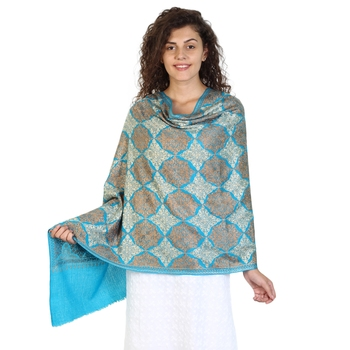 Dark Turquoise wool Embroidered Shawl