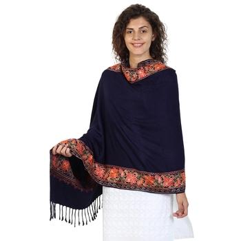Dark Navy Viscose Rayon Floral Embroidered Shawl