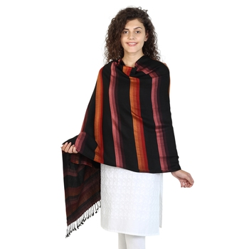 Black & Rust Viscose Rayon Striped Woven Design Shawl