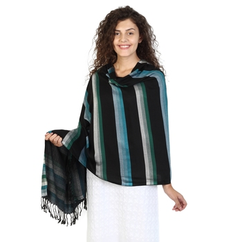 Black & Turquoise Viscose Rayon Striped Woven Design Shawl