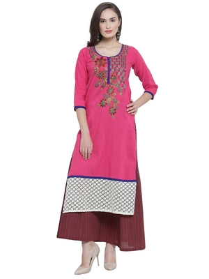 Fuschia Khadi Plazzao Suit Set