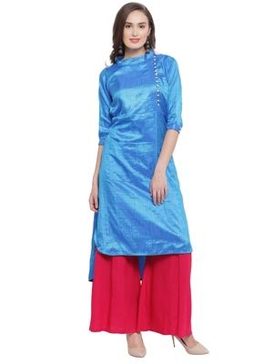 Royal Blue High Low Plazzao Suit Set