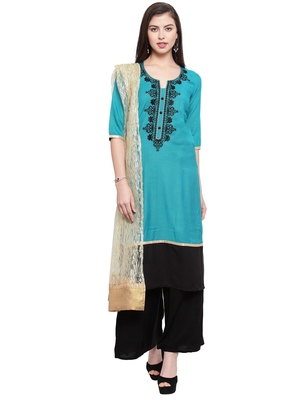 Turquoise Black Rayon Embroidered Suit Set