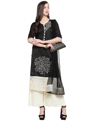Black Gold Crepe Embroidered Suit Set