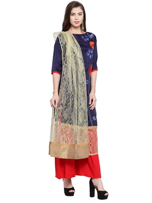 Navy Blue Crepe Embroidered Suit Set