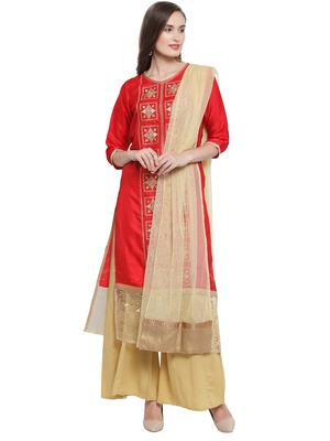Red Faun Crepe Embroidered Suit Set