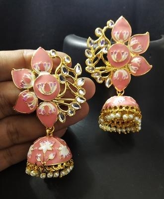 Designer Peech Pink Meenkari Kundan Pearl Jhumki Earrings