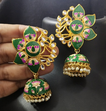 Designer Green Pink Meenkari Kundan Pearl Jhumki Earrings
