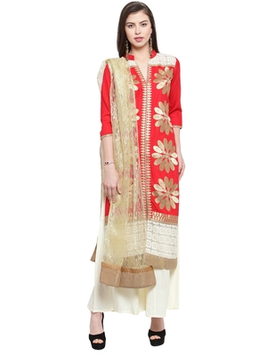 Red Rayon Embroidered Suit Set