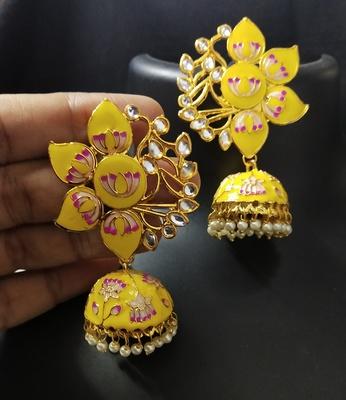 Designer Yellow Pink Meenkari Kundan Pearl Jhumki Earrings