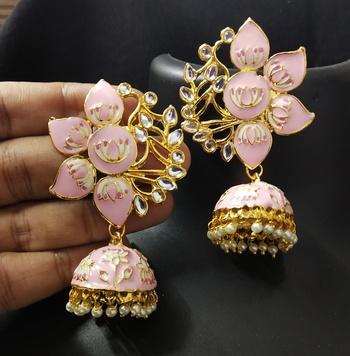 Designer Magenta Pink Meenkari Kundan Pearl Jhumki Earrings