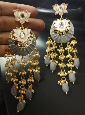 Designer Grey Pink Meenkari Kundan Pearl Hanging Pearl Earrings