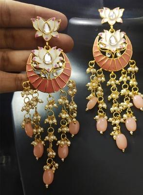 Designer Peech Pink Meenkari Kundan Pearl Hanging Pearl Earrings
