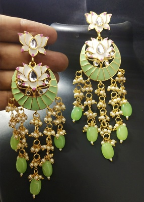 Designer Mint Green Pink Meenkari Kundan Pearl Hanging Pearl Earrings