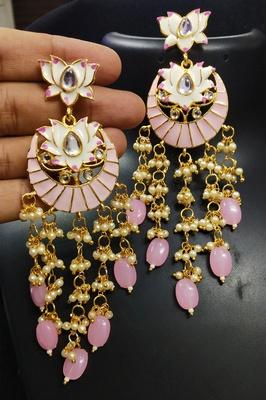 Designer Magenta Pink Meenkari Kundan Pearl Hanging Pearl Earrings