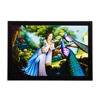Lady With Peacocks Satin Matt Texture UV Art Painting