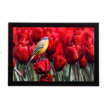 Bird Resting On Flower Satin Matt Texture UV Art Painting
