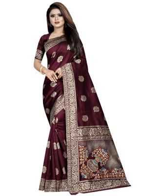 Brown plain art silk sarees saree with blouse