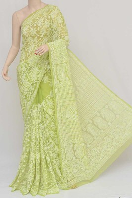 green embroidered faux georgette saree with blouse