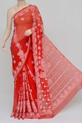 red embroidered faux georgette saree with blouse