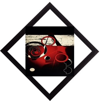 Red & white Abstract Satin Matt Texture UV Art Painting