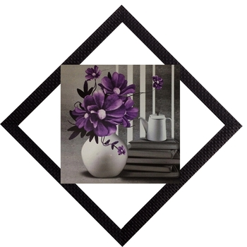 Vase & Purpe Flowers Satin Matt Texture UV Art Painting