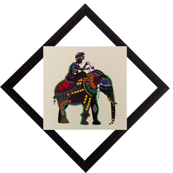 Elehant Ride Satin Matt Texture UV Art Painting