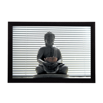 Peaceful Grey Lord Buddha Satin Matt Texture UV Art Painting