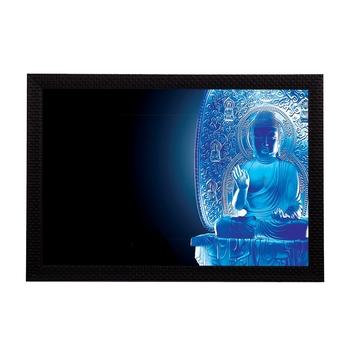 Neon Blue Lord Buddha Satin Matt Texture UV Art Painting