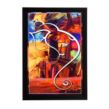 Lord Ganesh Abstract Satin Matt Texture UV Art Painting