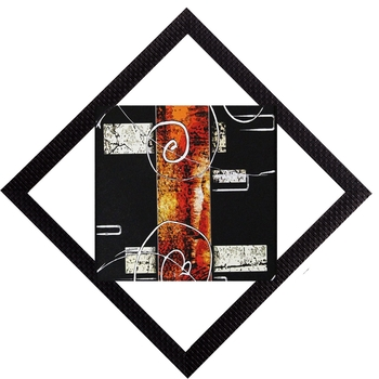 Orange & Black Satin Matt Texture UV Art Painting