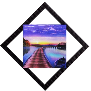 Over Bridge Sunset View Satin Matt Texture UV Art Painting