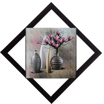 Vases With Flowers Satin Matt Texture UV Art Painting