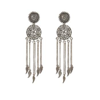 Afghani Tribal Oxidized Bohemian Navratri Silver Earrings for women