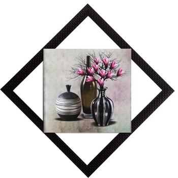 Black Vases With Flowers Satin Matt Texture UV Art Painting