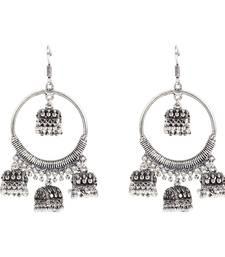 Afghani Tribal Oxidized Bohemian Navratri Silver Jhumki Earrings For Women