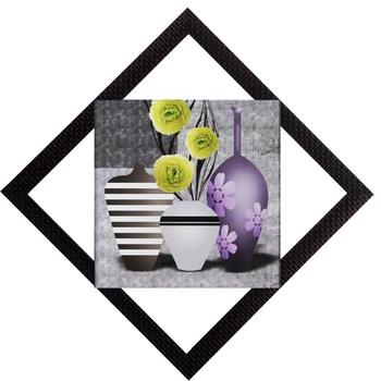 White & Purple Vases Satin Matt Texture UV Art Painting