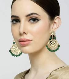 Traditional Gold Plated Kundan & Pearl Chandbali Earrings For Women